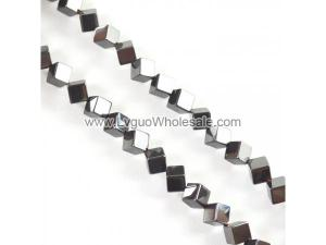 Non magnetic Hematite Beads, Cube, Different Size for Choice,black, Grade A,Hole:1.2mm, Length:15.5 Inch,Sold By Strand