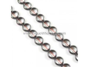 Non magnetic Hematite Beads,Puff Donut, different size for choice, black,Hole:1.5mm,Grade A, Length:15.5 Inch, Sold By Strand
