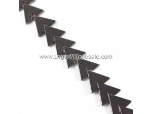 Hematite Bead, Letter V,Grade A, 17x15x3mm, Hole:Approx 0.6mm, Length:16 , 38PCs/Strand, Sold By Strand