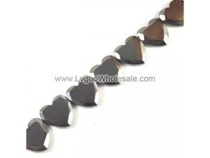 Non magnetic Hematite Beads, Heart,  24mm, 20pcs/strand, Hole:Approx 1.5mm, Length:Approx 15.7 Inch, Sold By Strand