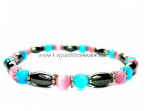 Hematite Oval Beads and Opal Cat's Eye Beads Bracelet