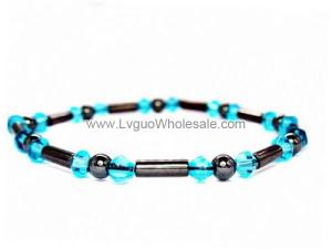 Hematite Tube Beads and Glass Beads Bracelet