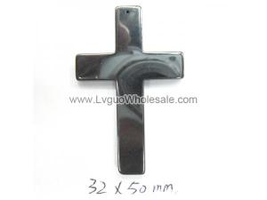 Hematite Cross Pendant  32x50mm
