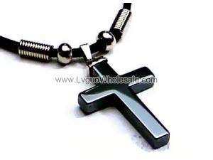 Hematite Cross Pendant 23x34mm