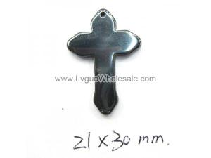 Hematite Cross Charms 21x30mm