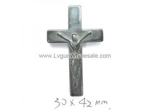 Hematite Cross Pendant Jesuse 30x42mm