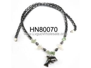 Black Hematite Stone Beads Necklace with Dolphin