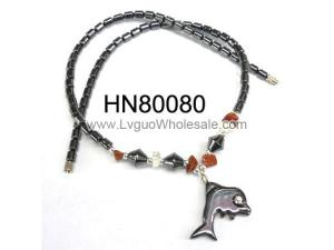 Semi-precious Stone Chip with Dophin Pendant Hematite Necklace