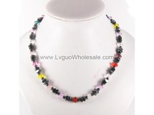 Multi-Color Glass Crystal Beads and Hematite Beads Necklace