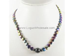 Rainbow Plating Heart ShapeHematite Beads Strands Necklace