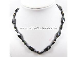 Mens Magnetic Hematite 8x12mm Twist Beads with Black Cloisonne Strands Necklace