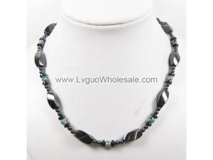 Mens Magnetic Hematite 8x12mm Twist Beads with Blue Cloisonne Strands Necklace