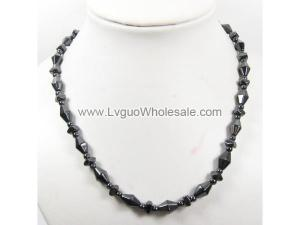 Mens Magnetic Hematite 8X10mm Bicone Beads Strands Necklace