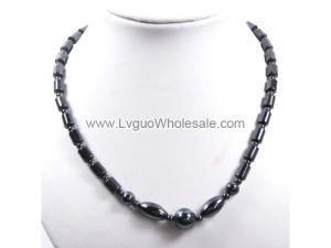 Hematite Drum Beads and Oval ,Twist Beads Strands Necklace