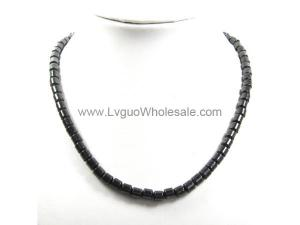 Mens Magnetic Hematite  Drum Beads Strands Necklace