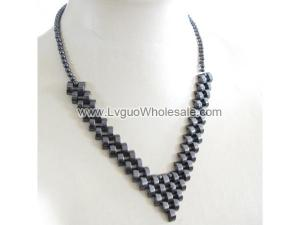 24inch Paved Hematite Beads Strands Necklace
