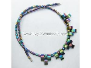 18inch Rainbow Plating Paved Hematite Beads Strands Necklace