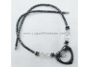 Clear Crystal Glass with Black Heart Shape Hematite Beads Necklace