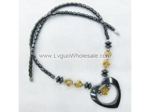 Gold Crystal Glass with Black Heart Shape Hematite Beads Necklace