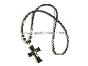 18inch Hematite Cross Pendant with Silver Jesus Stone Strands Necklace