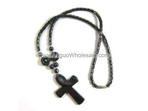 18inch Hematite Cross Pendant Stone Strands Necklace