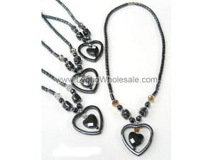 Assorted Glass Crystal Beads Heart Shape Charm Hematite Necklace