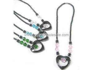 Assorted Color Glass Crystal Hematite Heart Shape Pendant Necklace
