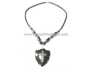 Cross Sign Hematite Shield Pendant Necklace