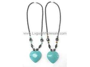 18inch Big Turquoise Heart Hematite Necklace Chain