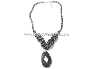 Faceted Hematite Pendant Chain Choker Necklace