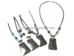 Assorted Color Faceted Crystal Beads and Hematite Pendant Chain Choker Necklace