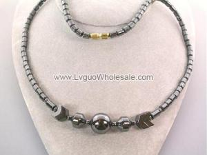 Large Round Beads Hematite Chain Choker Necklace