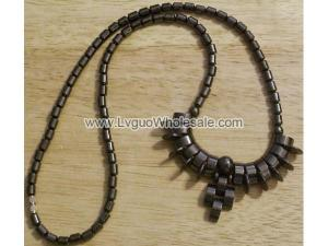 Teeth Beads Hematite Chain Choker Necklace
