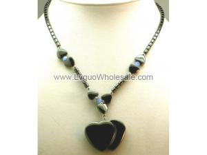 Blue Cat's Eye Opal Hematite Double Heart Pendant Beads Chain Choker Necklace
