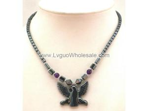 Amethyst Hematite Eagle Pendant Chain Choker Necklace