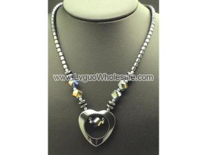 Glass Crystal Beads Hematite Open Heart Pendant Chain Choker Necklace