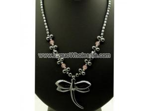 Rose Quartz Beads Hematite Dragonfly Pendant Chain Choker Necklace