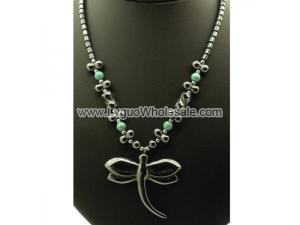 Green Aventurine Beads Hematite Dragonfly Pendant Chain Choker Necklace