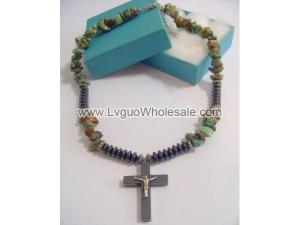 Silver Jesus Hematite Cross Pendant Turquoise Chip Stone Beads Choker Necklace