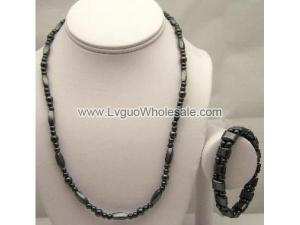 Hematite Beads Chain Choker Necklace and Bracelet Jewelry Set