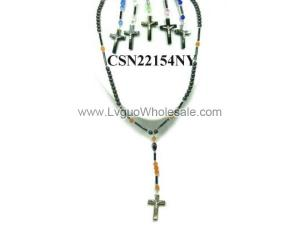 Assorted Color Cat's Eye Opal Beads Hematite Cross Pendant Rosary Necklace Jewelry