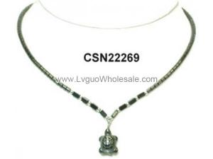 Hematite Turtle Pendant Chain Choker Women Fashion Necklace