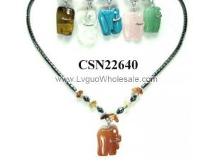 Semi precious Stone Elephant Pendant Beads Chain Choker Fashion Women Necklace