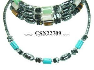 Semi precious Stone Hematite Beads Chain Choker Fashion Women Necklace
