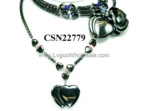 Cat's Eye Opal Hematite Heart Eagle Pendant Beads Chain Choker Fashion Women Necklace