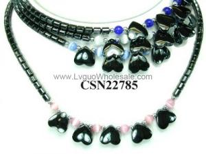 Assorted Opal Beads Hematite Heart Pendant Chain Choker Fashion Women Necklace