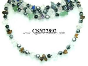Assorted Colored Semi-Precious Stone Beads And Hematite Beads Strands Necklace