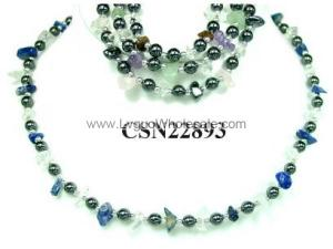 Assorted Colored Semi-Precious Stone Beads And Hematite Round Beads Strands Necklace