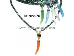 Cat's Eye Opal Horn Pendant and Hematite Beads Style Choker Collar Fashion Necklace