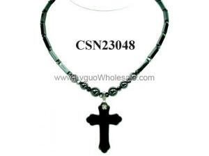 Synthetic Stone Hematite Cross Pendant Charm Choker Collar Necklace
